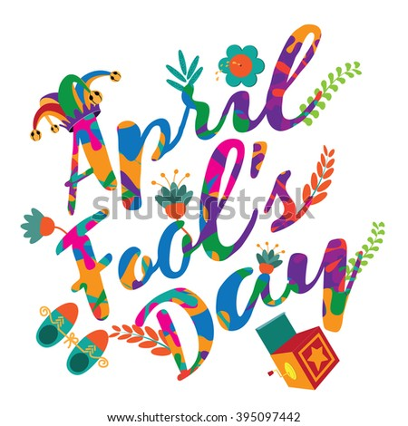 April Fools Day colorful text and funny gag items. - stock photo