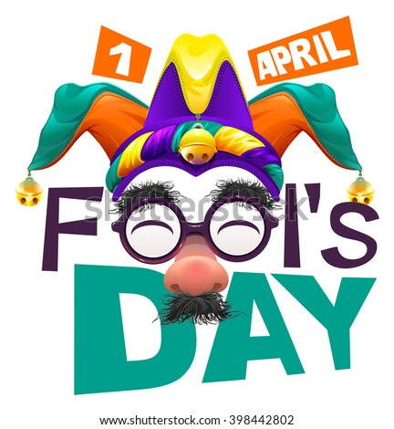 April Fools Day lettering text for greeting card. Isolated on white illustration - stock photo