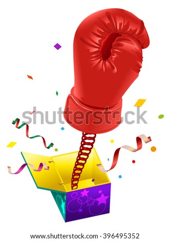 April Fools day. Red boxing glove on spring flies out of box. April Fools joke - stock photo