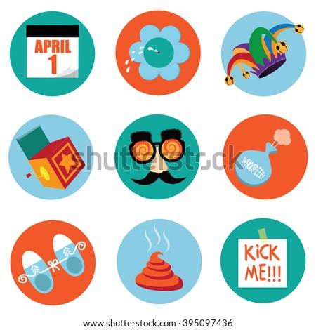April Fools Day round icon symbol stickers.  - stock photo