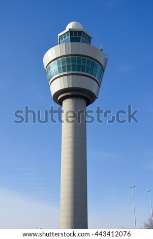 April 13, 2016. Holland, Amsterdam. Control tower in Schiphol airport.
