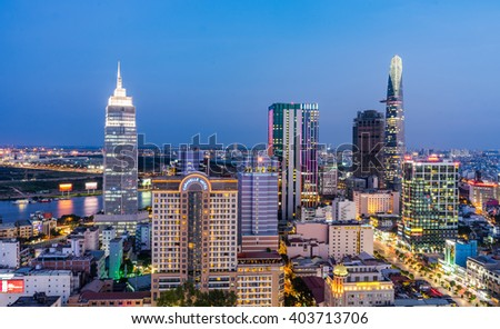 APRIL 08, 2016 - Impression landscape of Ho Chi Minh city at night. Ho Chi Minh city is a biggest city in the southern Vietnam.