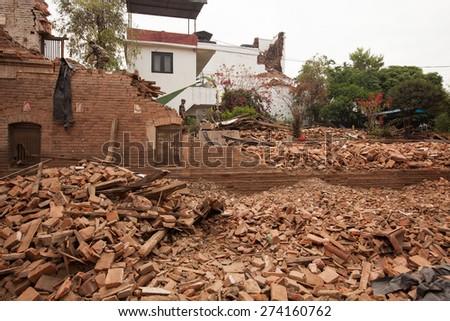 April 26, 2015 Ruins of Kathmandu after earthquake, Nepal - stock photo