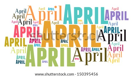 april text cloud on white background - stock photo