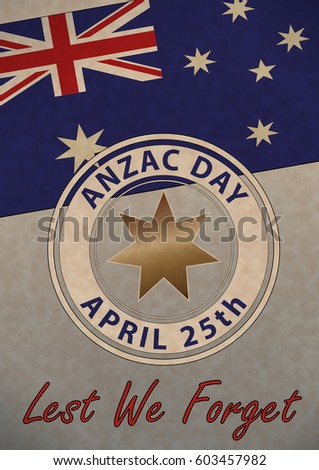 April 25th is ANZAC Day.  Australia New Zealand Army Corp. Banner or poster featuring an Australian flag.  Old paper grunge style.