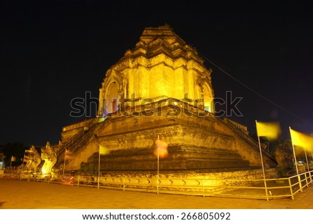 April 1, 2015, Wat Chedi Luang Temple is the oldest temple in Chiang Mai, Thailand. Originally considered the administrative center of the Lanna kingdom. Night is beautiful and very quiet. - stock photo