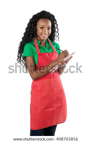Apron woman. Friendly African female model isolated on white background