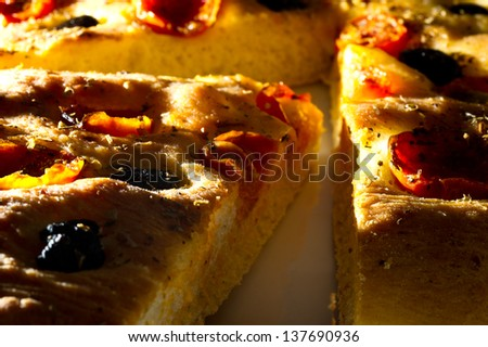 Apulian Focaccia with tomatoes and olives