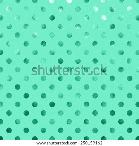 Aqua Blue Green Metallic Foil Polka Dot Pattern Swiss Dots Texture Paper Color Background - stock photo