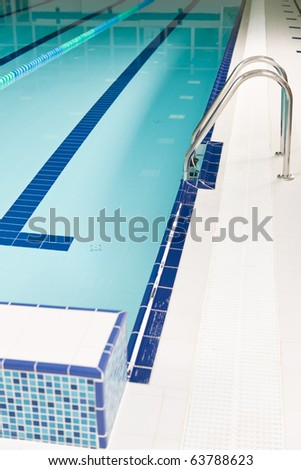 Aqua park - swimming pool with stairs and lane - stock photo