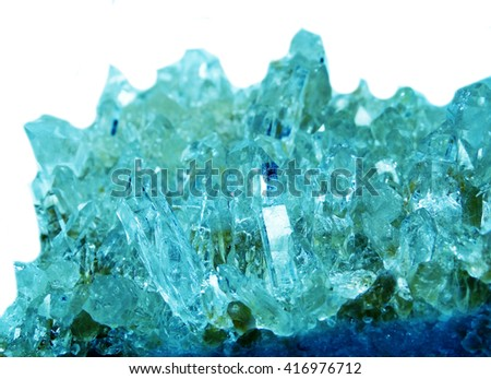 aquamarine gem semigem geode crystals geological mineral isolated  - stock photo