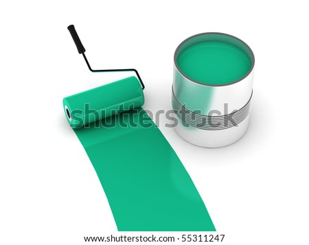 Aquamarine paint. Roller and steel can isolated on white background. High quality 3d render. - stock photo