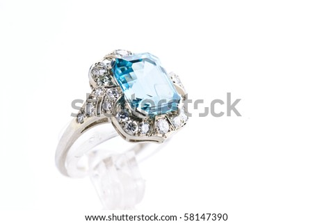 aquamarine ring isolated against a white background - stock photo