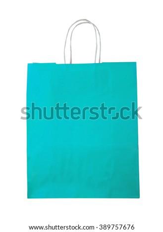 Aquamarine shopping bag on white. - stock photo