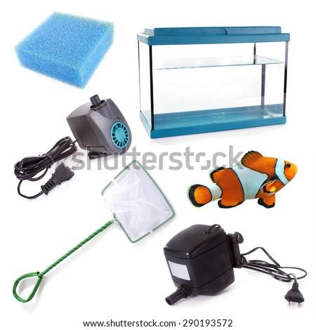 aquarium equipment in front of white background - stock photo