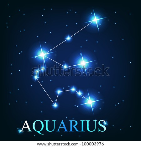Aquarius zodiac sign of the beautiful bright stars on the background of cosmic sky - stock photo