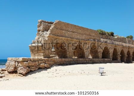 Aqueduct of Caesarea - stock photo