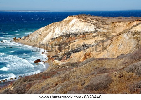 Aquinnah Cliffs on Martha's Vineyard - stock photo
