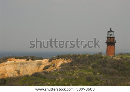 Aquinnah Lighthouse on Aquinnah )Gay Head) Cliffs, Martha's Vineyard - stock photo
