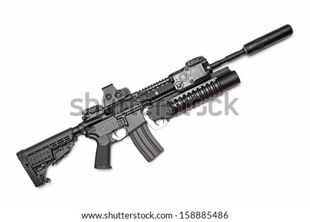 AR-15 (M4A1) carbine with holographic sight, M203 grenade launcher and sound suppressor. Isolated on white - stock photo