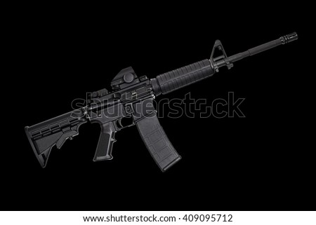 AR15 M4A1 Style Weapon USA Combat Automatic Rifle isolated on black photograph concept defense freedom - stock photo