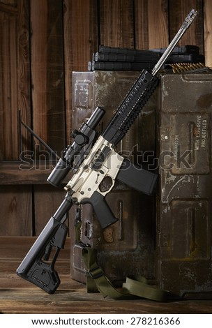 ar15 rifle with ammo cans - stock photo