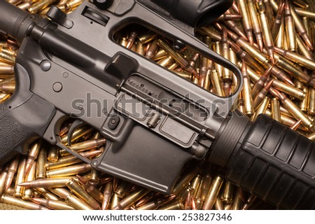 AR15 with .223 ammunition - stock photo