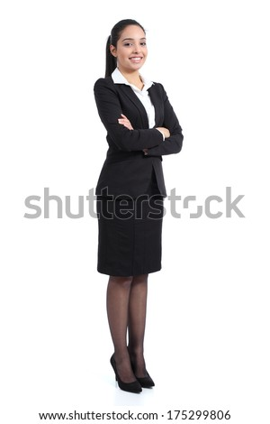 Arab business standing confident woman posing happy isolated on a white background             - stock photo