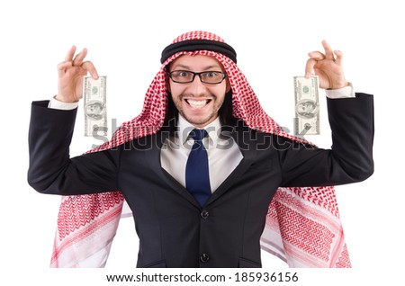 Arab businessman in specs with money isolated on white - stock photo