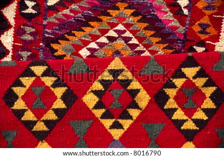 Arab carpets at market in Morocco - stock photo