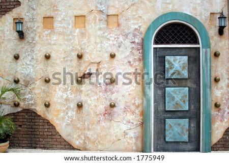 Arab door, Fishermen's Pier, Macau - stock photo
