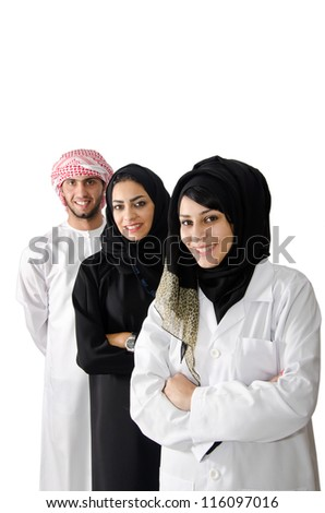 Arab Female Doctor With Arab Family - stock photo