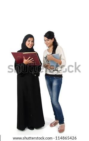 Arab Female Students - stock photo