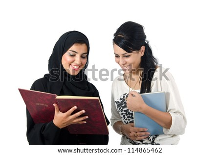 Arab Female Students - stock photo