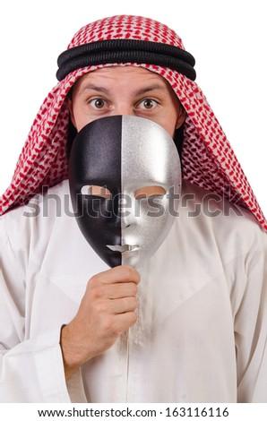 Arab in hypocrisy concept on white - stock photo
