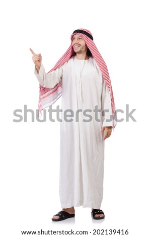 Arab man pressing virtual buttons isolated on white - stock photo
