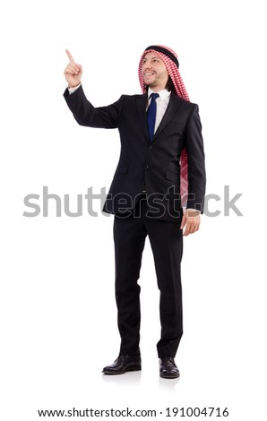 Arab man pressing virtual obstacle isolated on white - stock photo