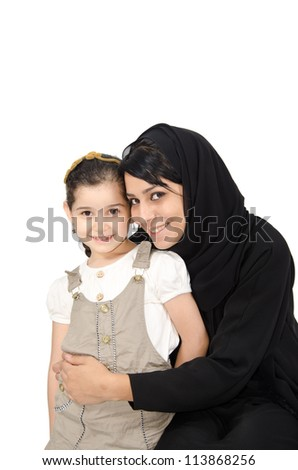 Arab Mother with her daughter - stock photo
