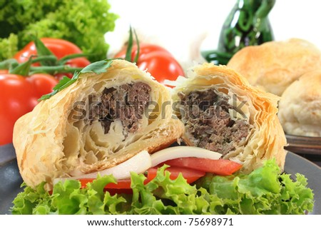 Arab pie with ground beef and ginger filling - stock photo