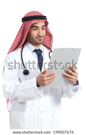 Arab saudi doctor reading a medical history isolated on a white background