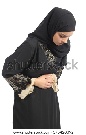 Arab saudi emirates woman with belly ache isolated on a white background - stock photo