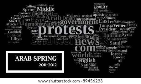 Arab spring uprising info-text/cloud word composed in the map shape of the Arab world  comprises the states & territories of the Arab League - stock photo