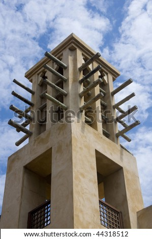 Arab wind tower in madinat jumeirah in Dubai United Arab Emirates - stock photo