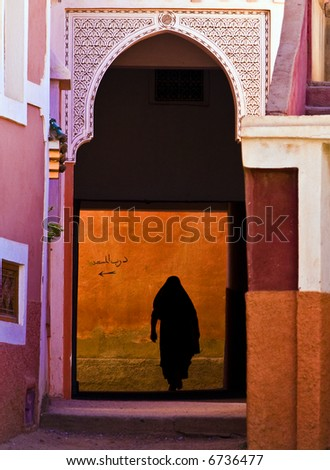 Arab woman's siluett, Morocco - stock photo