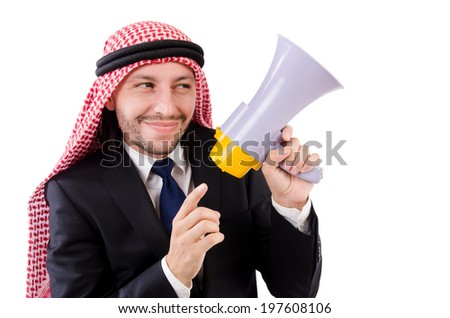 Arab yelling with loudspeaker isolated on white - stock photo