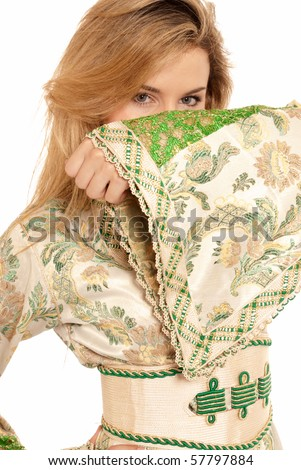 Arab young woman hidden face isolated on white background.