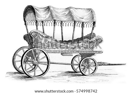 Araba car of Turkish women, vintage engraved illustration. Magasin Pittoresque 1842.