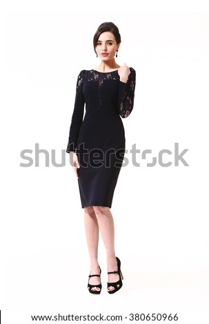arabian asian eastern brunette business executive woman with updo hair style in official black party cocktail dress high heels shoes stand full body length isolated on white - stock photo