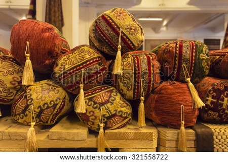 Arabian cushions in a shop of african objects