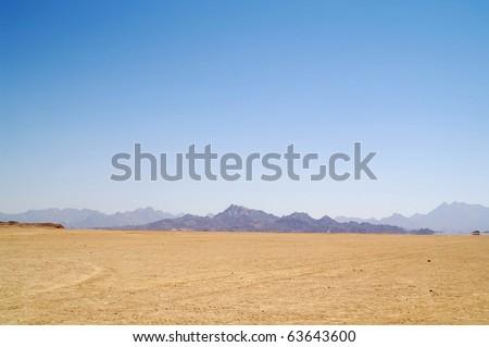 Arabian desert and mountain, Africa - stock photo